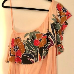 Free People One Shoulder Orange Floral Top Small